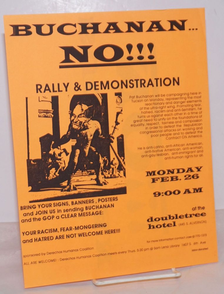 Buchanan No! rally & demonstration [handbill] Monday, Feb. 26, 9:00am at the Doubletree Hotel