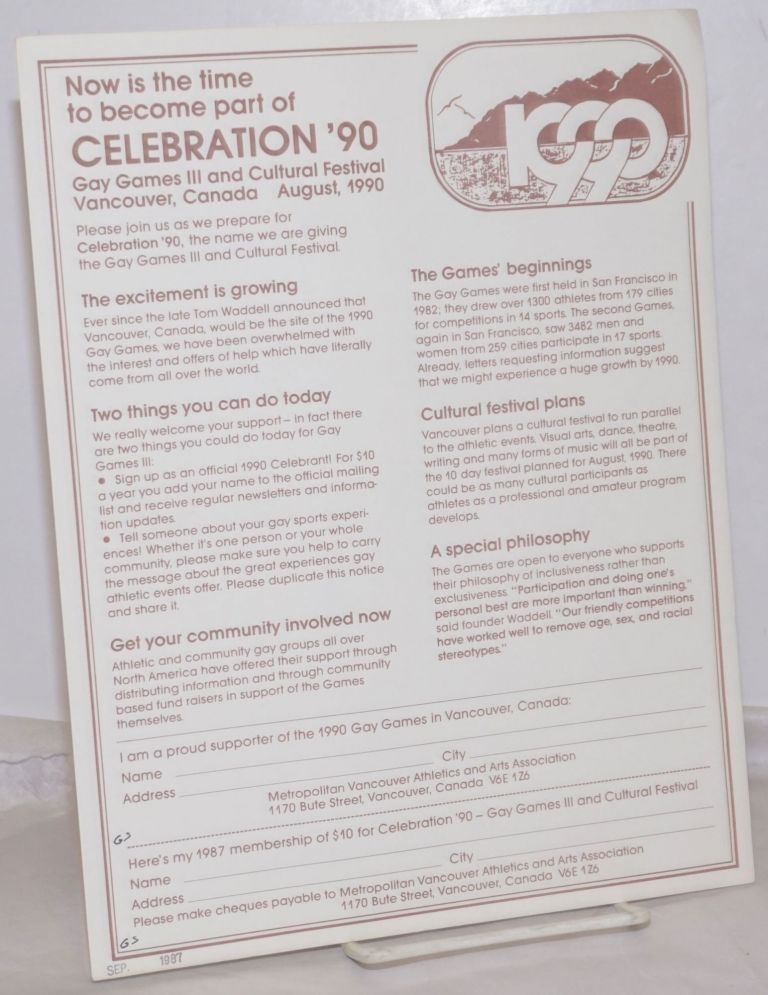 Now is the Time to Become Part of Celebration '90: Gay Games III & Cultural festival, Vancouver, Canada August 1990 [handbill]