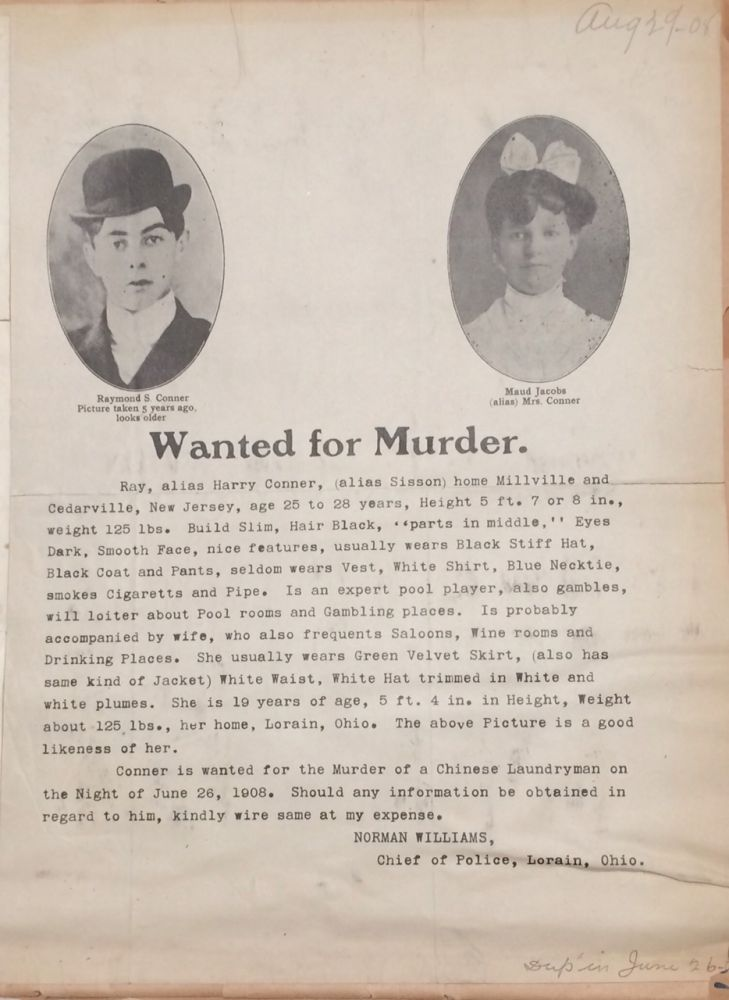 Wanted poster for a gambler who killed a Chinese laundryman in Lorain, Ohio; together with eight...