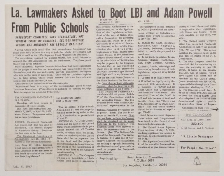 La. lawmakers asked to boot LBJ and Adam Powell from pulic schools [Leaflet reprinting an article...