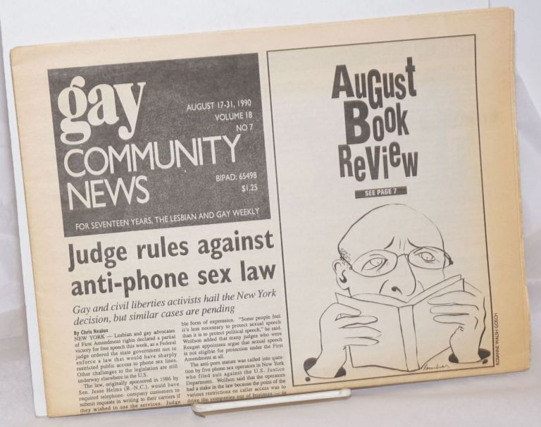 GCN: Gay Community News; the weekly for lesbians and gay males; vol. 18, #7, August 17 - 31, 1990; August Book Review. Stephanie Poggi, Loie Hayes, Chris Nealon Michael Bronski, Maida Tilchen, Laura Briggs.