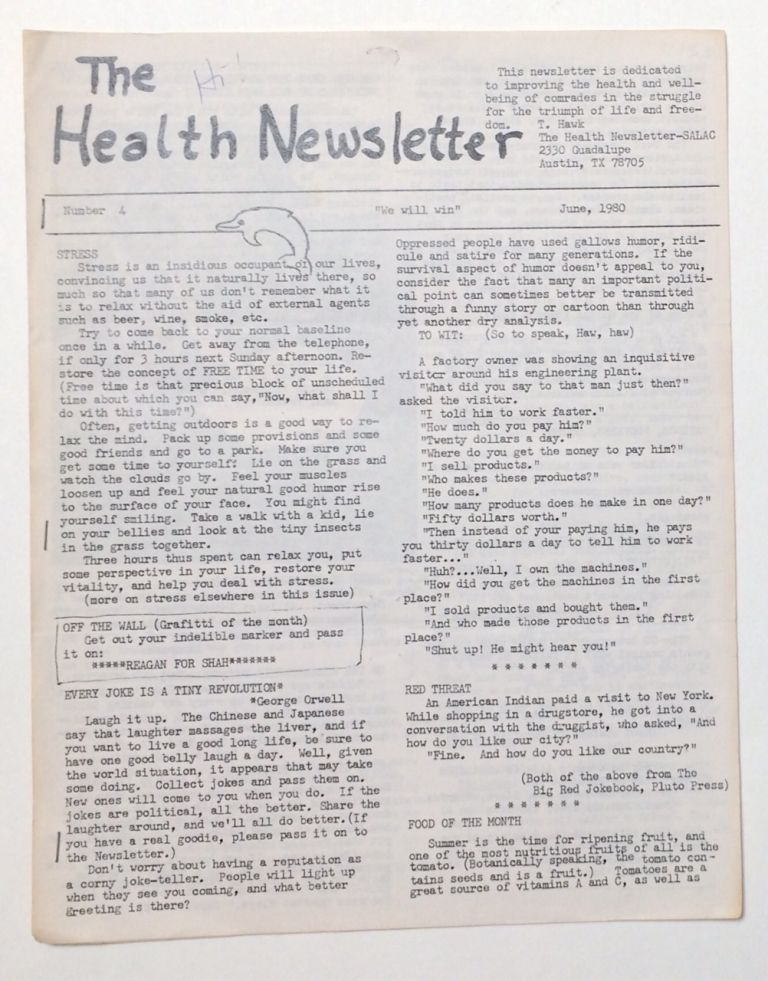 The Health Newsletter. No. 4 (June, 1980)