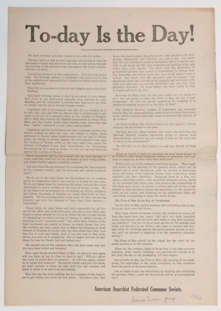 To-day is the Day! [broadside]. American Anarchist Federated Commune Soviets, Shmuel Marcus, Marcus Graham.