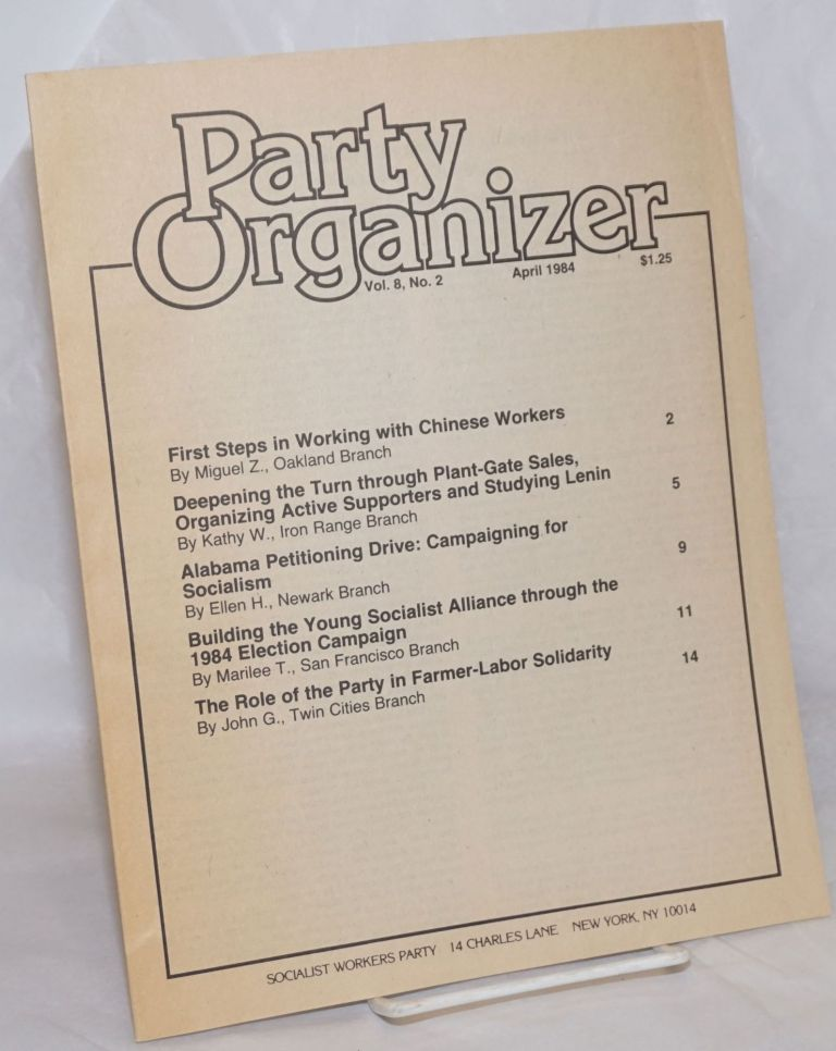 Party Organizer, Vol. 8, No. 2, Jan, 1984. Socialist Workers Party.