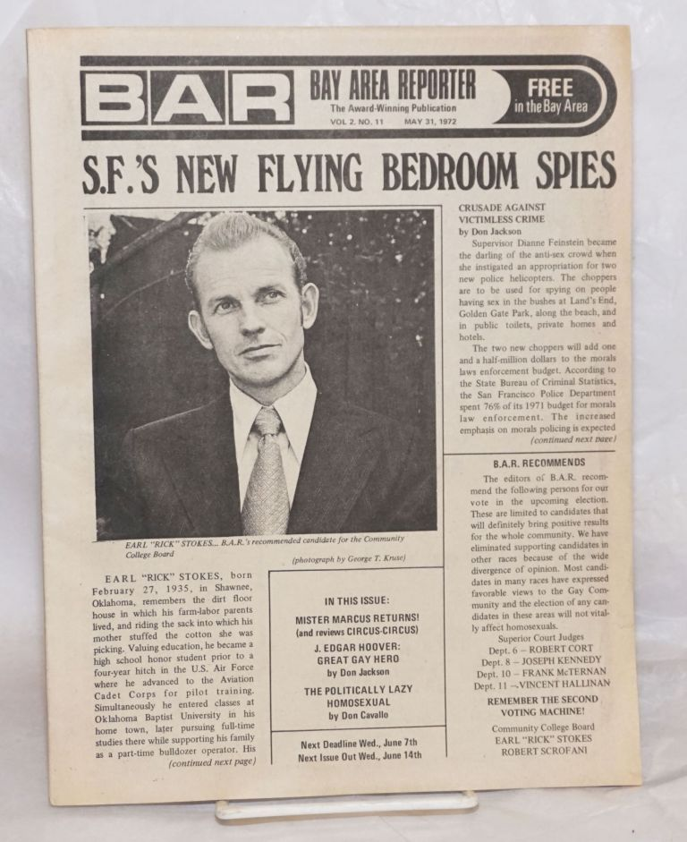 """B.A.R. Bay Area Reporter: the catalyst for all factions of the Gay Community; vol. 2, #11, May 31, 1972; S.F.'s New Flying Bedoom Spies. Paul Bentley, Bob Ross, Donald McLean publishers, Sweetlips, Lou Greene, Don Cavallo, Mr. Marcus, Earl """"Rick"""" Stokes, Don Jackson."""