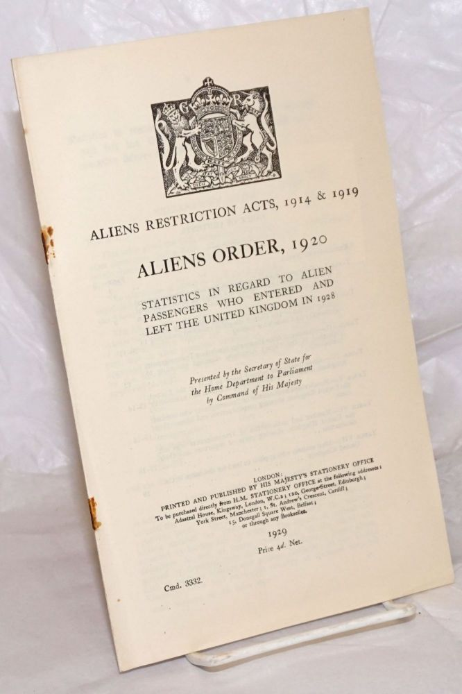 Aliens Restriction Acts, 1914 & 1919. Aliens Order, 1920. Statistics in Regard to Alien Passengers Who Entered and Left the United Kingdom in 1928