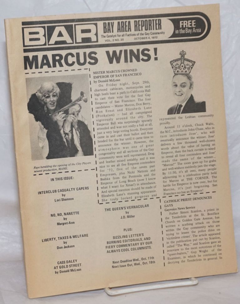 B.A.R. Bay Area Reporter: the catalyst for all factions of the Gay Community; vol. 2, #20, October 4, 1972; Marcus Wins! Paul Bentley, Bob Ross, Lori Shannon publishers, Sweetlips, Mr. Marcus, Don Jackson, Donald McLean, William E. Beardhemphl, J. D. Miller, Margaret-Ann.
