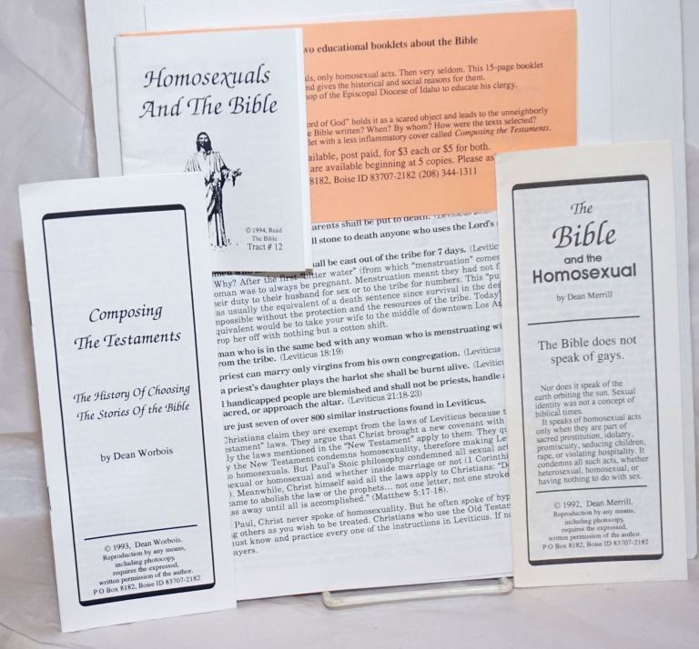 Packet of handbills and pamphlets: The Bible and the Homosexual, Composing the Testaments, Homosexuals and the Bible, and more. Dean aka Dean Worbois Merrill.