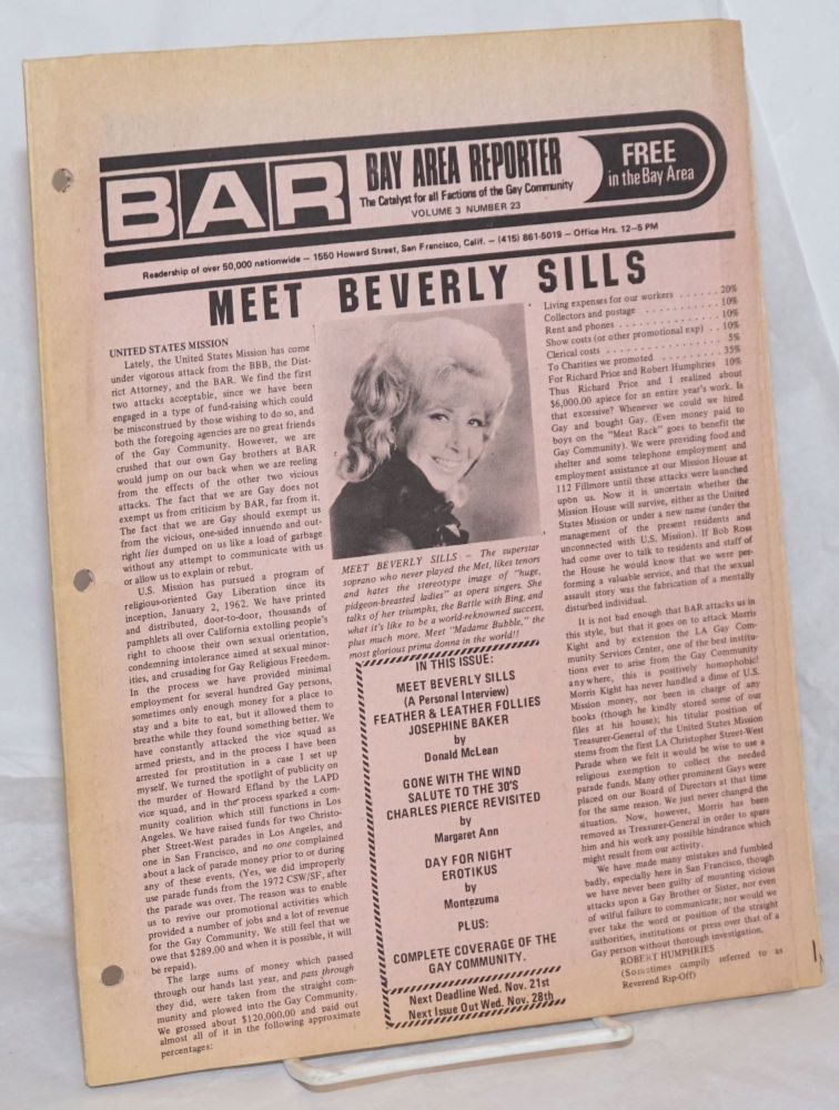 B.A.R. Bay Area Reporter: the catalyst for all factions of the gay community; vol. 3, #23, October 1973: Meet Beverly Sills. Paul Bentley, Bob Ross, Beverly Sills publisher, Donald McLean.