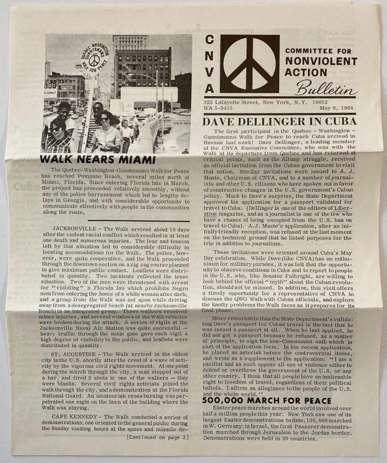 CNVA Bulletin. May 8, 1964. Committee for Nonviolent Action.