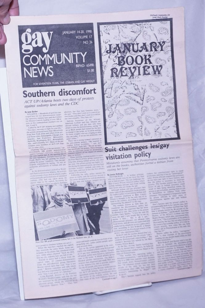 GCN: Gay Community News; the weekly for lesbians and gay males; vol. 17, #26, January 14-20, 1990; Southern Discomfort: ACT UP/Atlanta. Stephanie Poggi, Loie Hayes, Judy Gerber Jennie McKnight, Carrie Wolford, Ed Boyce.