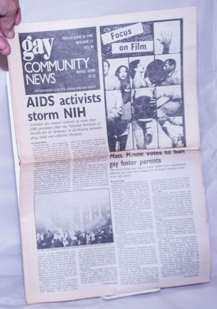 GCN: Gay Community News; the weekly for lesbians and gay males; vol. 17, #44, May 27 - June 2, 1990; AIDS Activists storm NIH. Stephanie Poggi, Loie Hayes, Laura Briggs Michael Galvin, Liz Galst, Chris Nealon, David Morris.