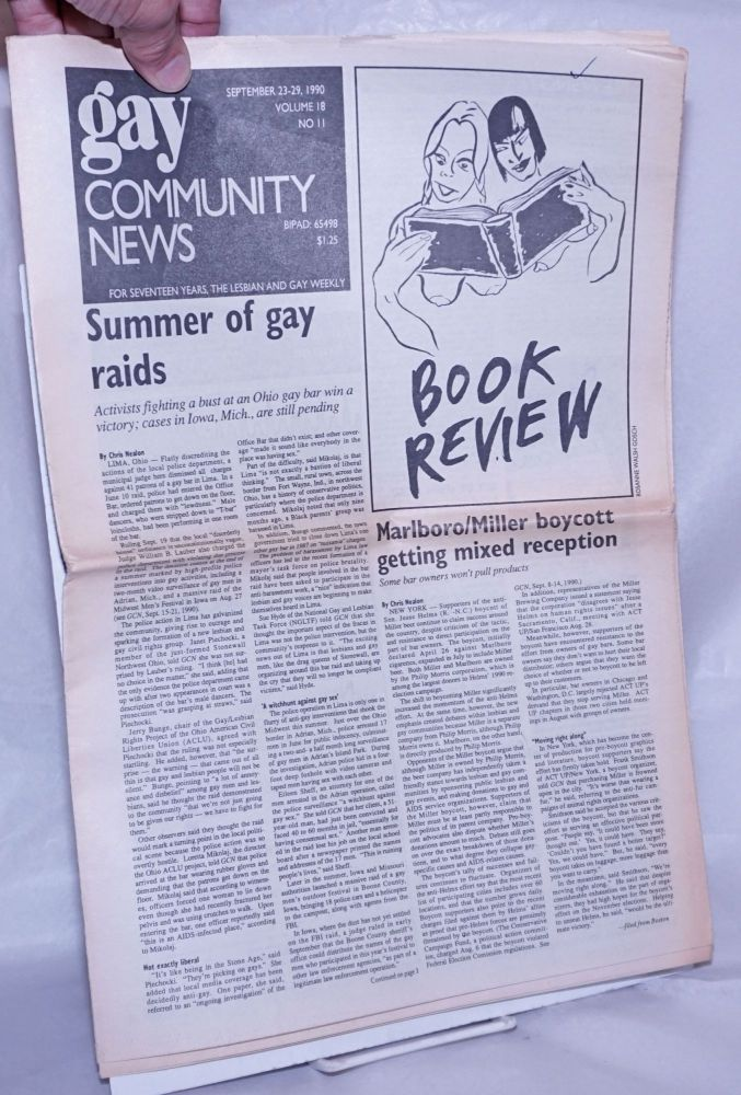 GCN: Gay Community News; the weekly for lesbians and gay males; vol. 18, #11, September 23-29, 1990: Summer of Gay Raids. Frank Strona, Christopher Wittke, Chris Nealon Michael Bronski, John Zeh, Laura Briggs.