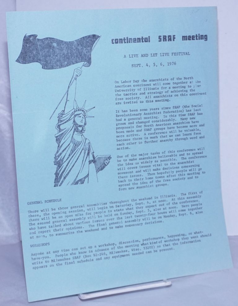 Continental SRAF Meeting: A live and let live festival. Sept. 4, 5, 6, 1976.