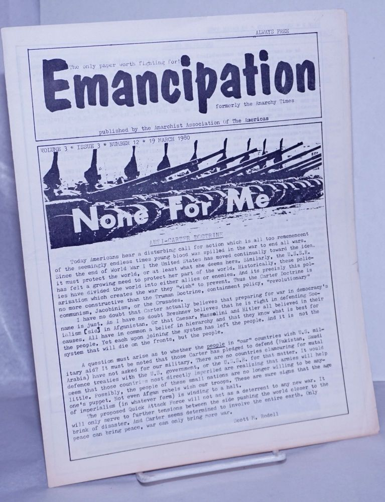 Emancipation: formerly the Anarchy Times; Vol.3, No.3, (No. 12), 19 March 1980