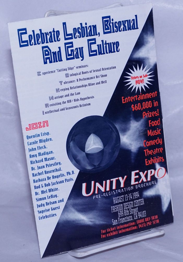 Unity Expo Pre-registration brochure: Celebrate Lesbian, Bisexual and Gay Culture [brochure]