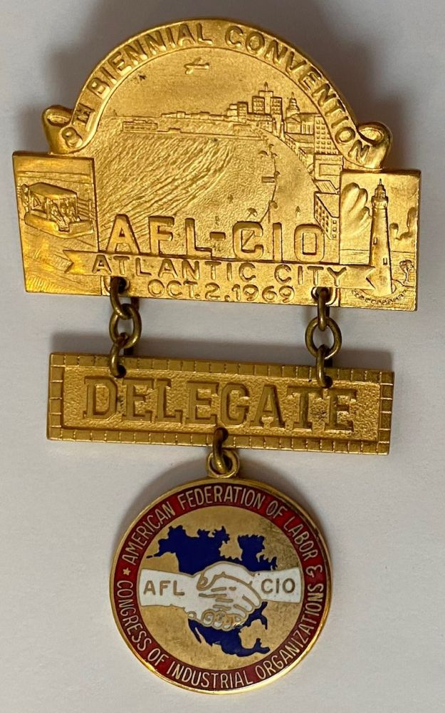 8th Biennial Convention / AFL-CIO / Atlantic City, Oct. 2, 1969 [delegate badge]