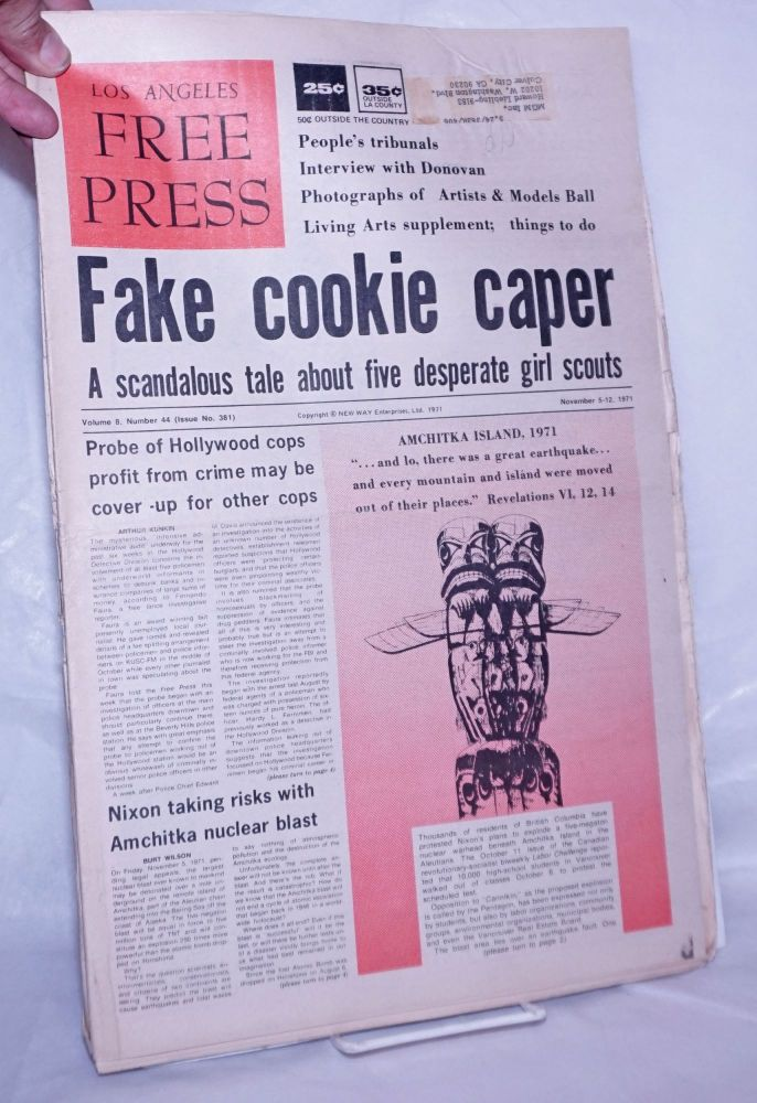 """Los Angeles Free Press: Vol. 8 #44 (should be #45), #381, Nov 5-12 1971. """"Fake cookie caper"""" [Headlines]. Art Kunkin, publisher and."""