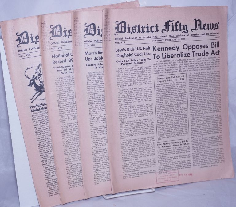 District Fifty news, 4 issues, 1955, Vol. 8, Nos. 3, 7, 20 & 23. District fifty United mine workers of america.