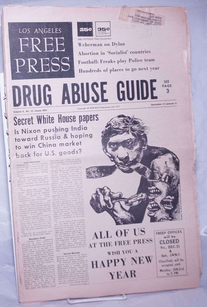 """Los Angeles Free Press: """"Avoid Your Tail, Spying on the FBI"""" [Headlines] Vol. 8 #53, #389, Dec 31, 1971- Jan 6 1972. Art Kunkin, publisher and."""