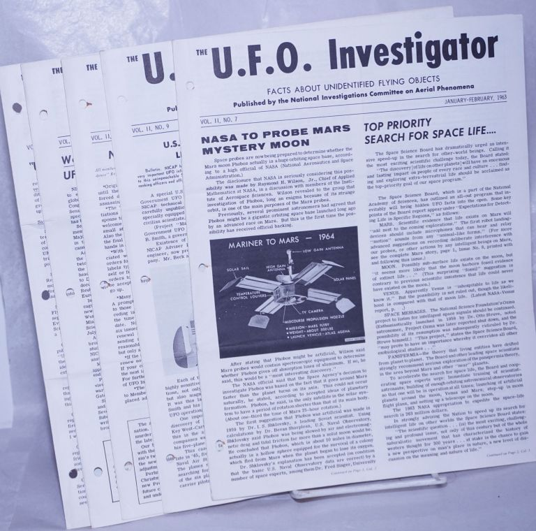 U.F.O. Investigator; Facts About Unidentified Flying Objects [broken run]: Volume II, Nos. 7, 9, 10, 11, 12; Volume III, Nos. 1 thru 11; Volume IV, Nos. 1 thru 3 [19 unduplicated issues], plus seven enclosures; 26 separate related items together as a small lot. Maj Donald E. Keyhoe, director and, Don Berliner in chief. Richard Hall, sometime assistant, et alia, Lelia Day.