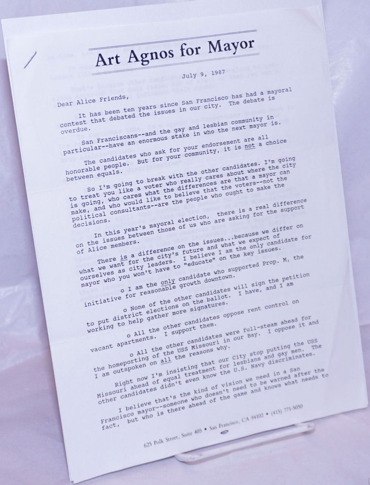 Art Agnos for Mayor [two page letter to Alice B. Toklas Democratic Club members]. Art Agnos.