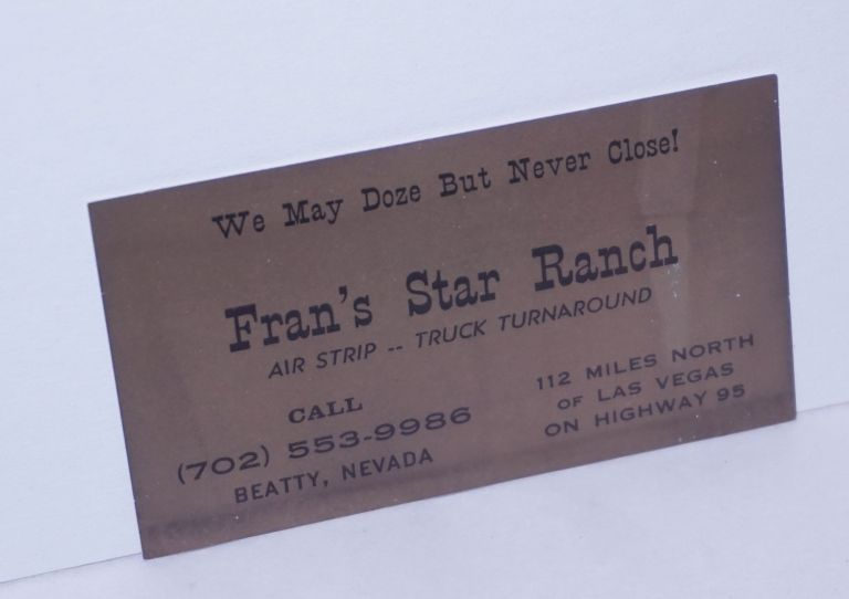 Business card for Fran's Star Ranch brothel we may doze but we never close!