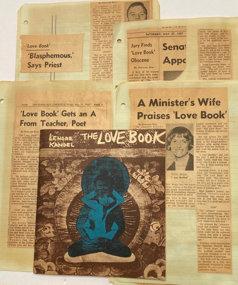 The Love Book [together with news clippings about the subsequent trial for obscenity]. Lenore Kandel.