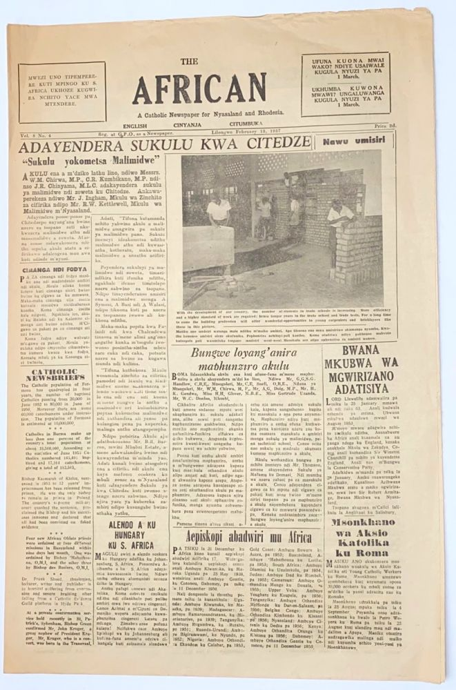 The African: a Catholic newspaper for Nyasaland and Rhodesia. Vol. 8 no. 4 (Feb. 15, 1957)