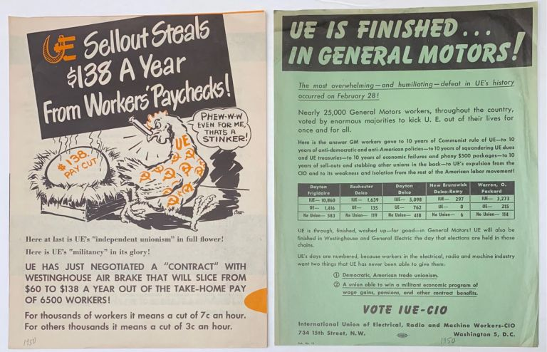 [Two anti-UE leaflets issued after the union's expulsion from the CIO]. Radio International Union of Electrical, Machine Workers.