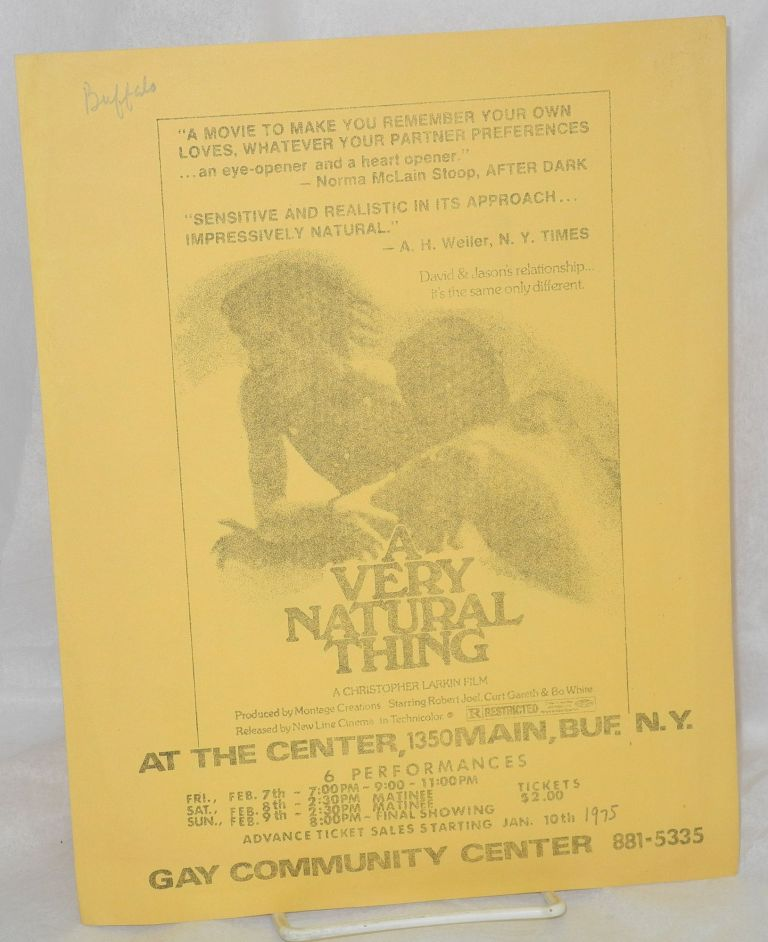 A Very Natural Thing: a Christopher Larkin film [handbill] at the Center, 1350 Main, Buf., N.Y.