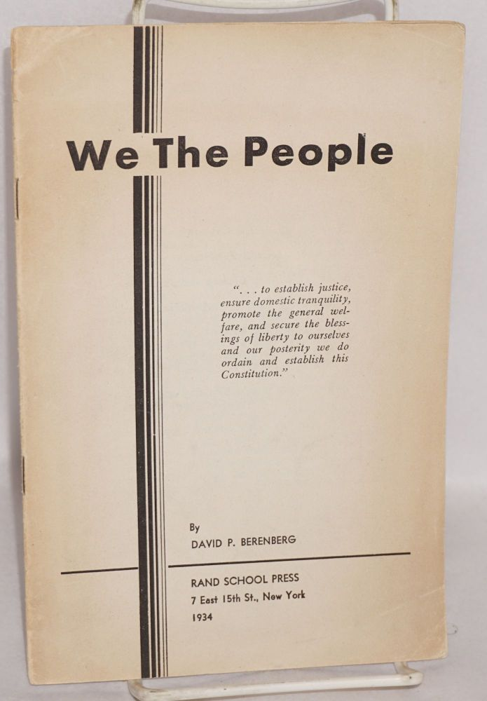 We the people. David P. Berenberg.