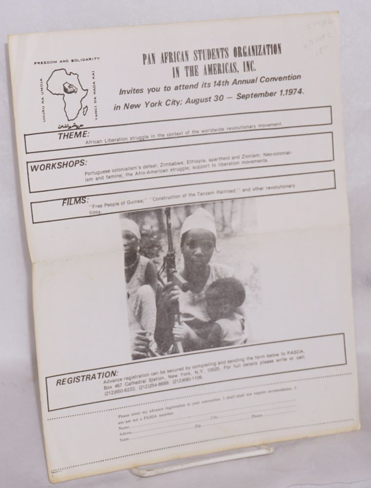 Pan African Students Organization in the Americas, Inc.; invites you attend its 14th Annual Convention in New York City; August 30 - September 1, 1974