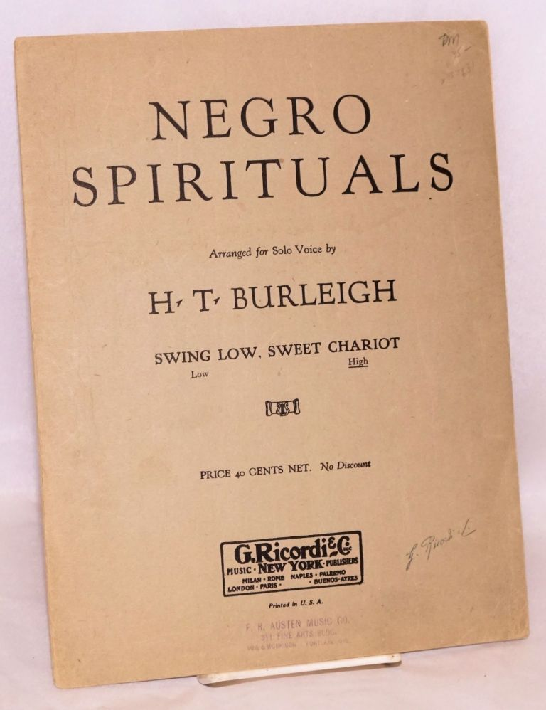 Swing low, sweet chariot; arranged for solo voice. Harry Thacker Burleigh, arranger.