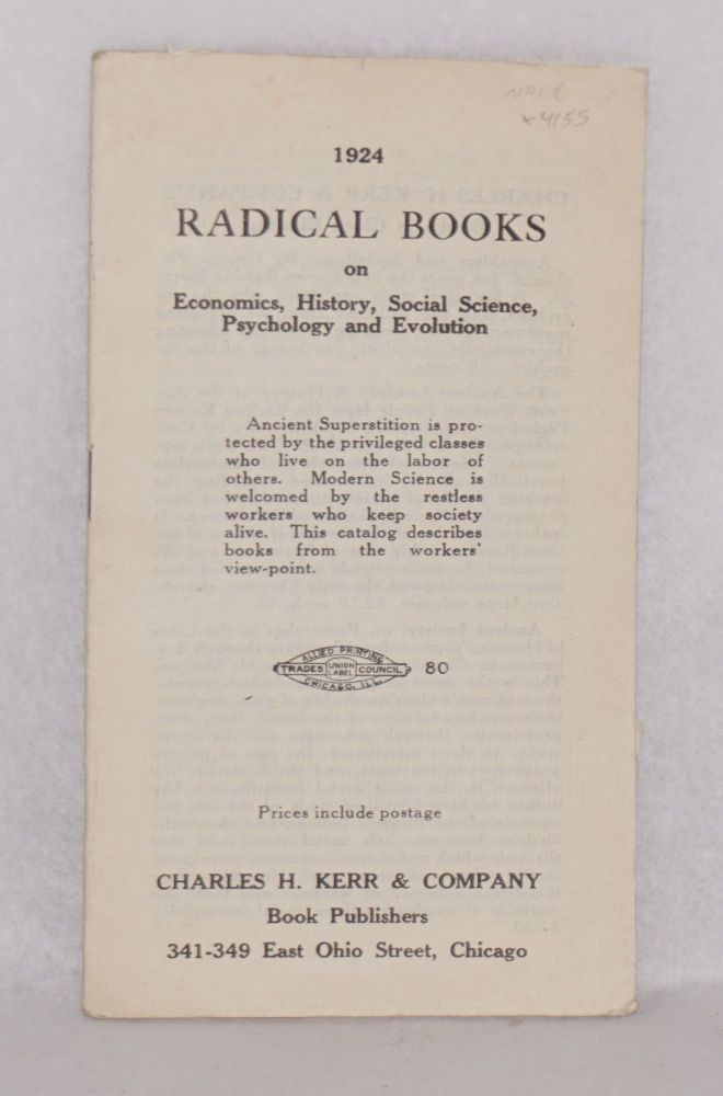 1924 radical books on economics, history, social science, psychology and evolution. Charles H. Kerr, Company.