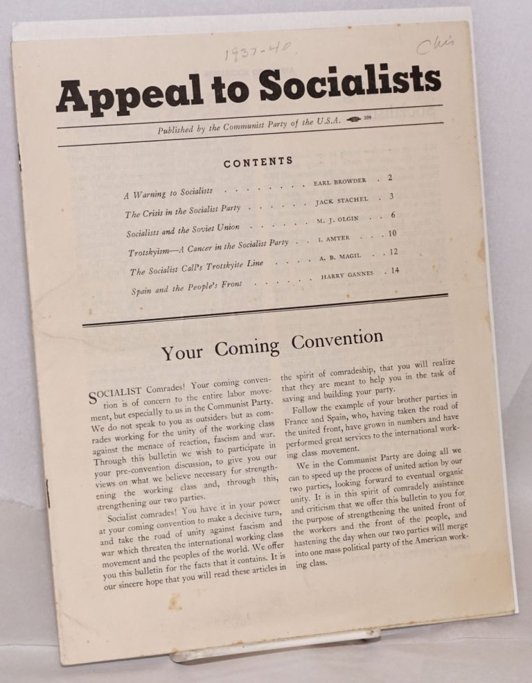 Appeal to Socialists. USA Communist Party.