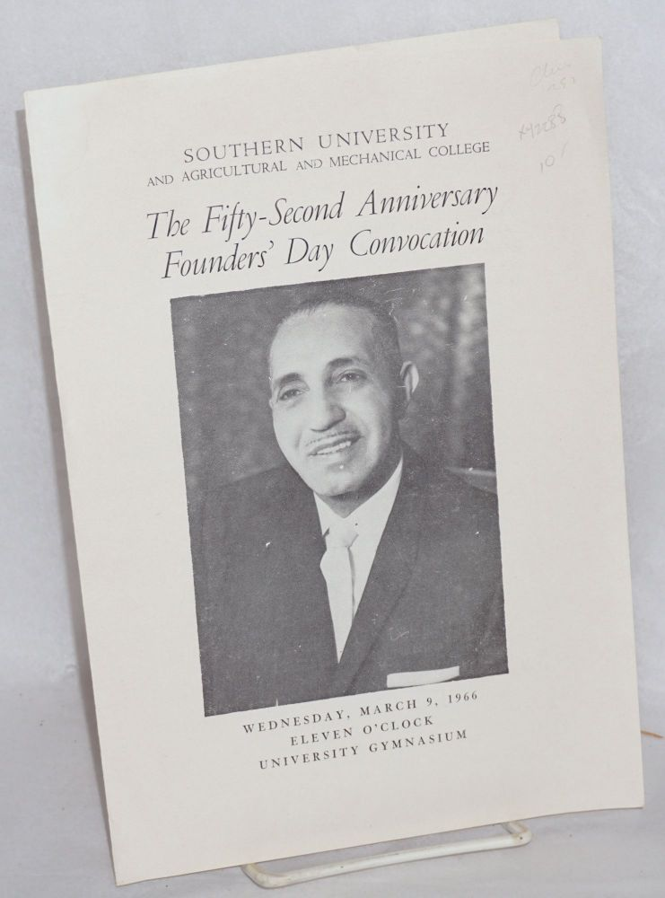 The fifty-second anniversary founder's day convocation; Wednesday, March 9, 1966, eleven o'clock, university gymnasium. Southern University, Agricultural, Mechanical College.