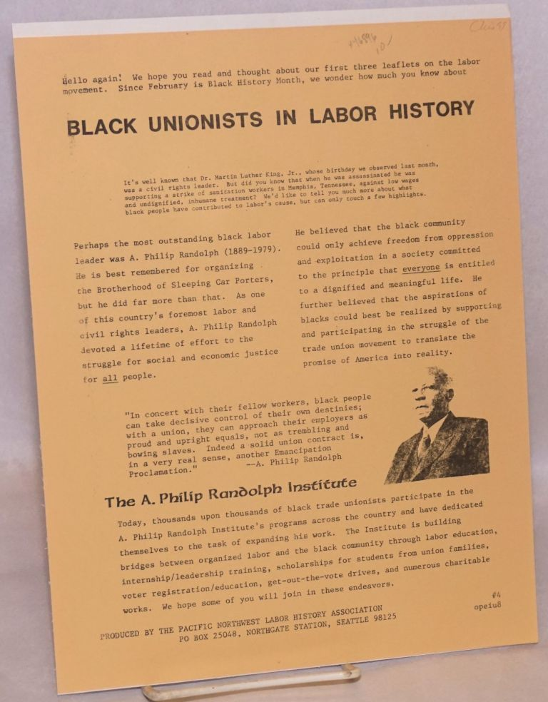 Black unionists in labor history. Pacific Northwest Labor History Association, A. Philip Randolph.
