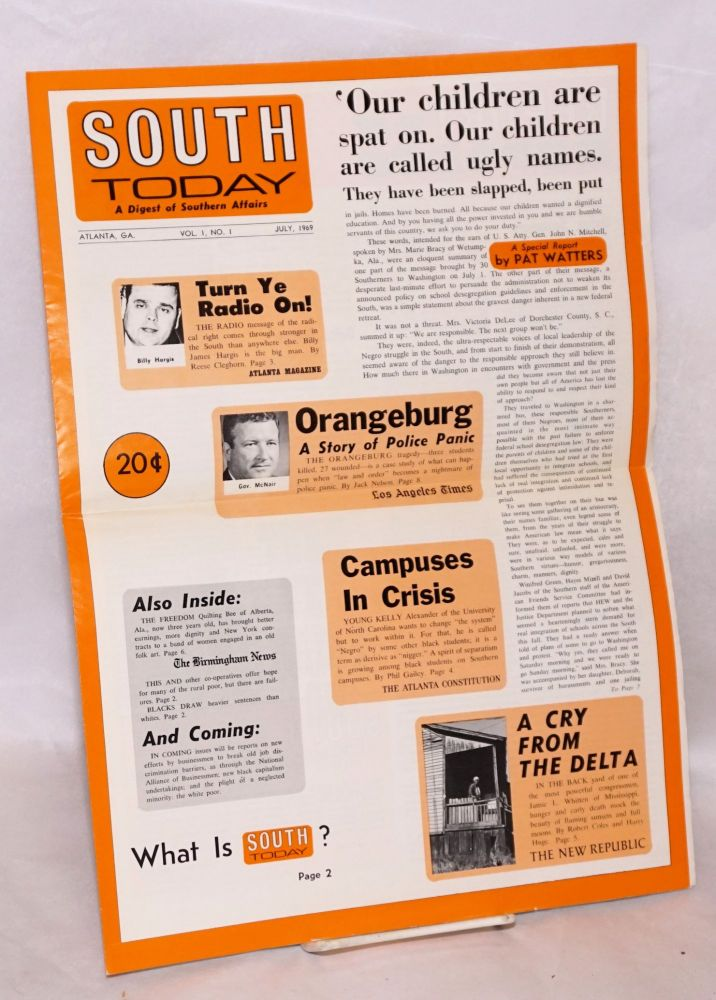 South today; a digest of southern affairs, vol. 1, no. 1, July, 1969