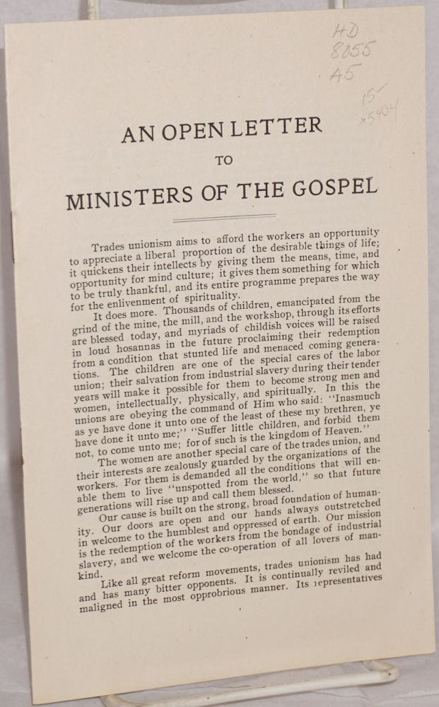 An open letter to ministers of the gospel. American Federation of Labor.