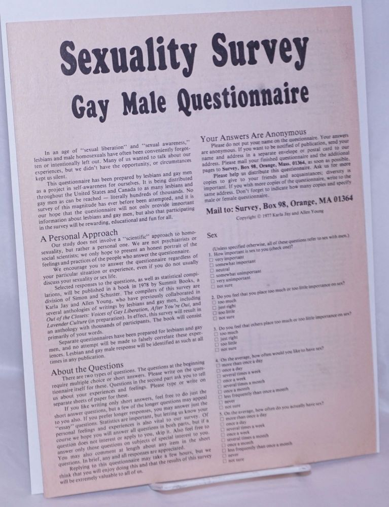 Sexuality survey; gay male questionnaire. Karla Jay, Allen Young.