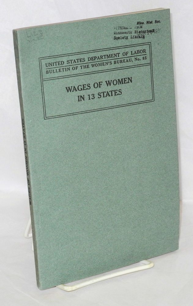 Wages of women in 13 states. Mary Elizabeth Pidgeon.