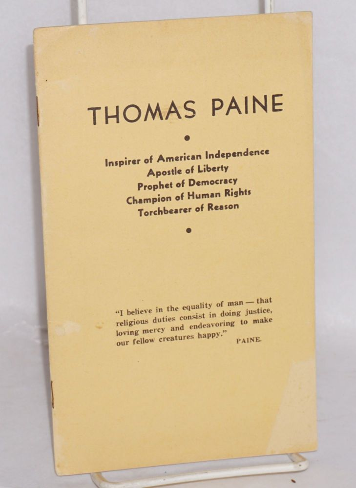 Thomas Paine. Preface by C.G. Patterson. Theodore Schroeder.