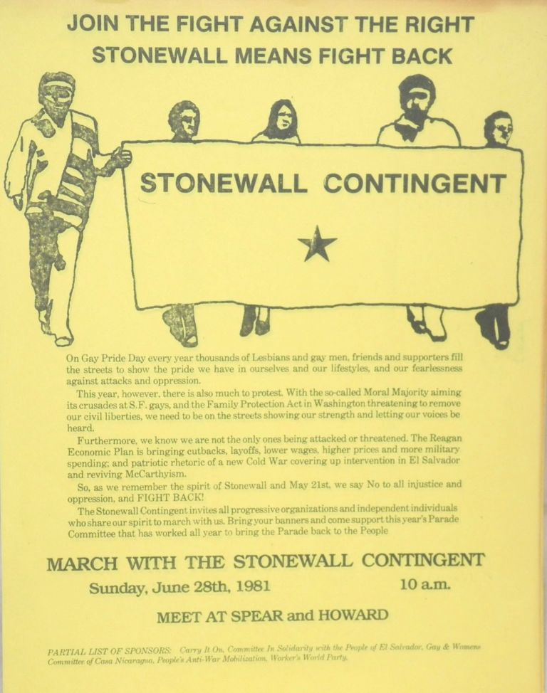 Join the fight against the right/ Stonewall means fight back. March with the Stonewall Contingent, Sunday, June 28, 1981 [handbill]. Stonewall Contingent.