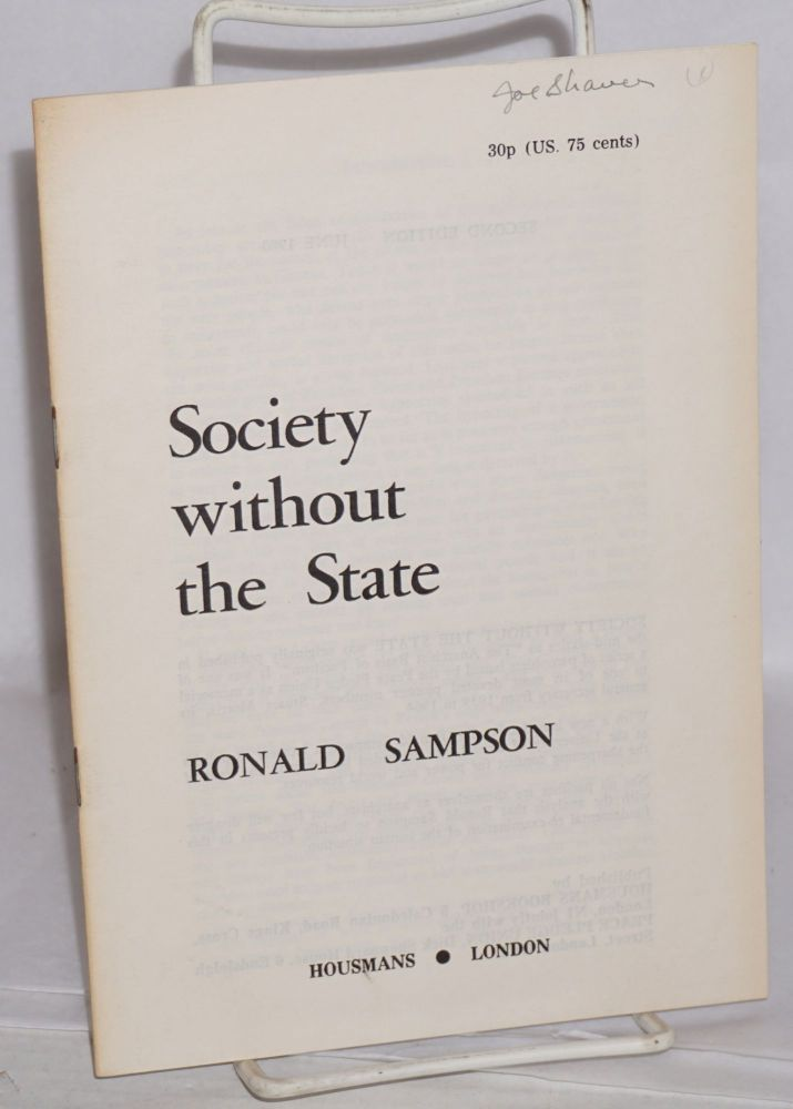 Society without the state. Ronald Sampson.