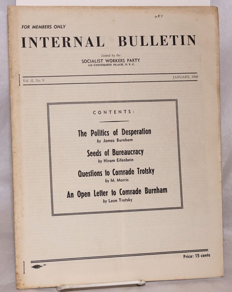 Internal bulletin, vol. 2, no. 9. January, 1940. Socialist Workers Party.