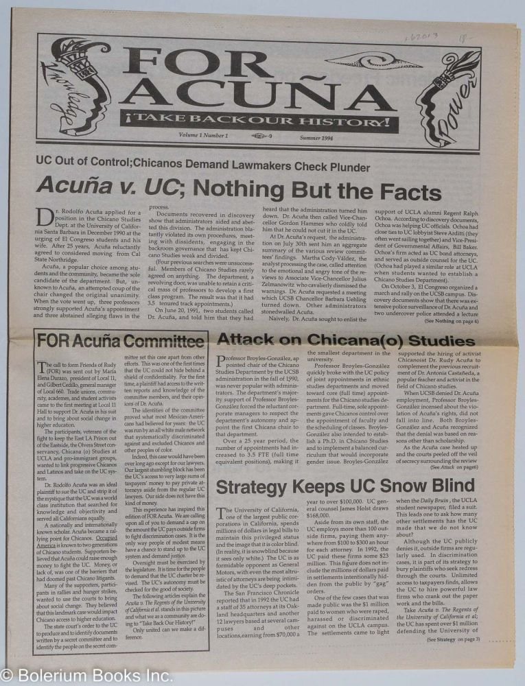 For Acuña: ¡Take back our history!, vol. 1, #1, Summer 1994; Acuna vs UC