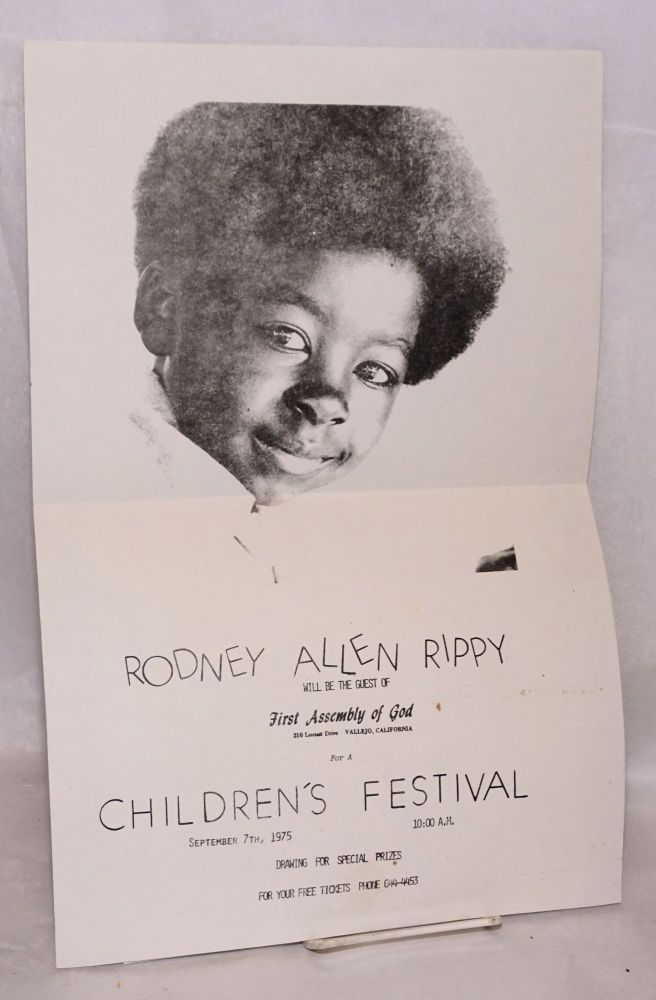 Rodney Allen Rippy will be the guest of First Assembly of God ... for a children's festival, September 7th, 1975. Rodney Allen Rippy.