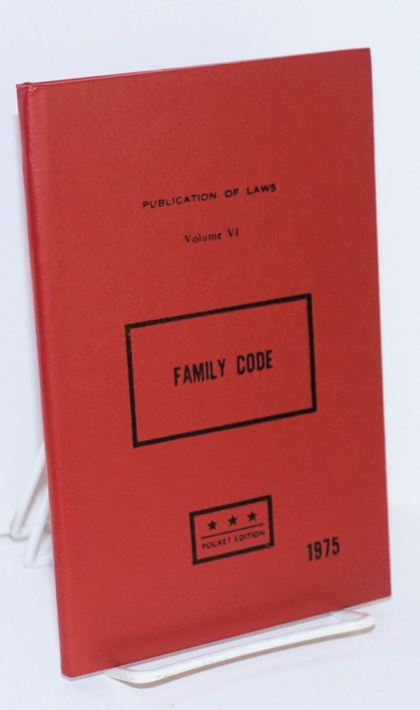 Family Code Law no. 1289, of February 14,1975. Cuban Ministry of Justice.