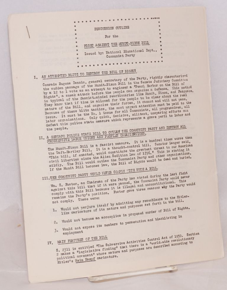 Discussion outline for the fight against the Mundt-Nixon Bill. USA. National Educational Department Communist Party.